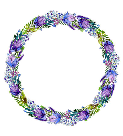 수채화 꽃 화환. 손 벡터 일러스트를 그렸다.