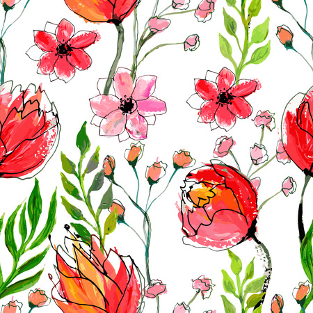 feminine floral flower: Seamless floral pattern. Vector watercolor hand drawn illustration.