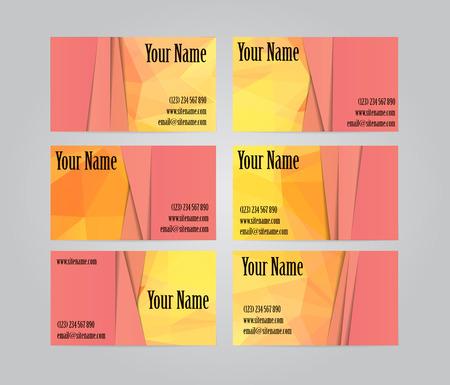 visit: Set of six orange geometric visit cards