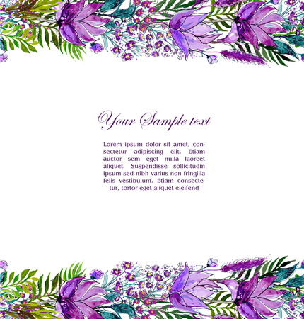 ślub: Floral seamless border with wildflowers,  watercolor vector illustration