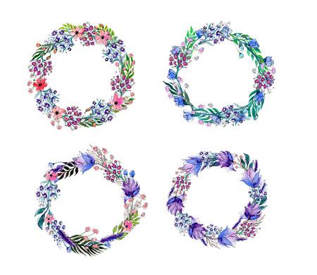 Flores de la acuarela de la guirnalda de establecer. Dibujado a mano ilustración vectorial. Foto de archivo - 42930492