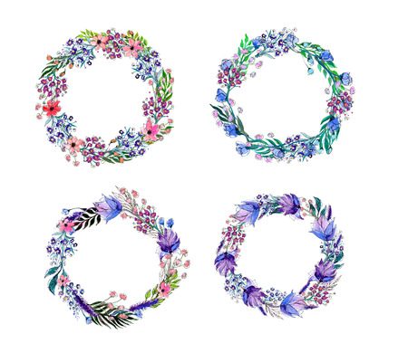 wreath set: Watercolor flowers wreath set. Hand drawn vector illustration.