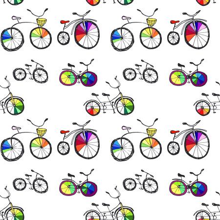 cartoon hand: Hand drawn bicycle seamless pattern. Cartoon style