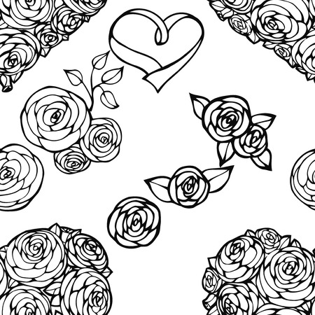 bride bouquet: Vector seamless background. Design for fabrics, textiles, paper, wallpaper, web. Roses and the brides bouquet. wedding pattern Illustration