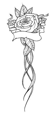 hombros: Hermosa rosa tatuada, esbozar ilustración en blanco y negro