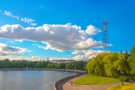 svisloch: June 24, 2015: River Svisloch in the centre of Minsk near Victory square, Belarus.
