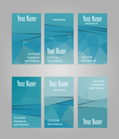 graphic elements: Set of six blue vertical geometric visit cards