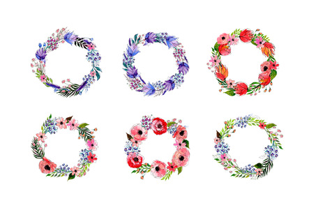 Watercolor flowers wreath set. Hand drawn vector illustration.