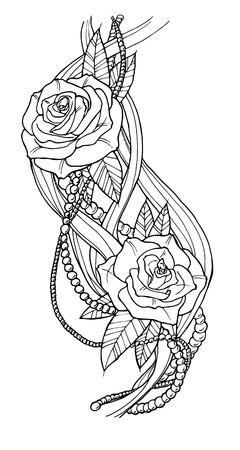 mujer con rosas: Hermosa rosa tatuada, esbozar ilustración en blanco y negro