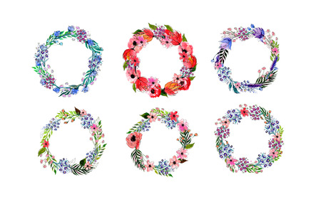 Flores de la acuarela de la guirnalda de establecer. Dibujado a mano ilustración vectorial. Foto de archivo - 43255251
