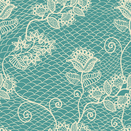lace pattern: Blue seamless floral lace pattern, vintage background Illustration