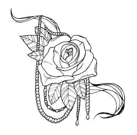 shoulders: Hermosa rosa tatuada, esbozar ilustraci�n en blanco y negro