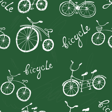 bicycle wheel: Hand drawn bicycle seamless pattern. Cartoon style