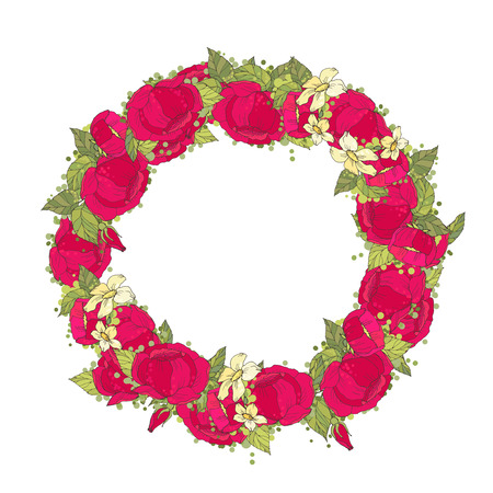 birthday cards: Floral Frame. Retro flowers arranged un a shape of the wreath perfect for wedding invitations and birthday cards
