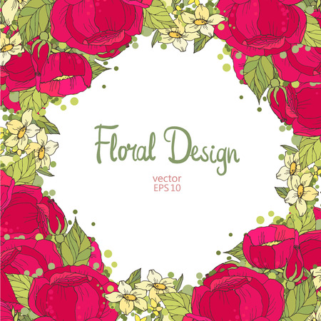 vintage floral frame: Vintage Floral Frame and place for your text.  Perfect for wedding invitations and birthday cards Illustration