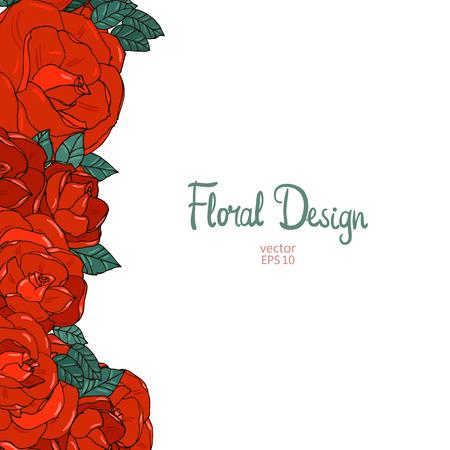 vertical garden: Vertical wedding border with beautiful red garden roses. Floral design.