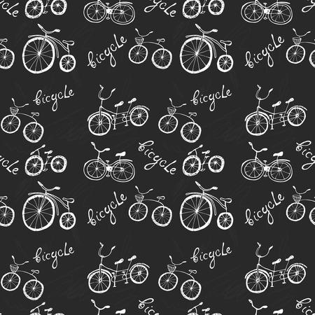 pen cartoon: Cute doodle bicycles on black background. Vector illustration Illustration