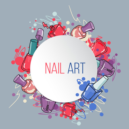 nail lacquer: Vector nail lacquer bottles on grey background and white circle place for text