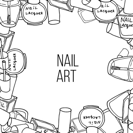 nail lacquer: Vector nail lacquer bottles. Black and white hand drawn frame