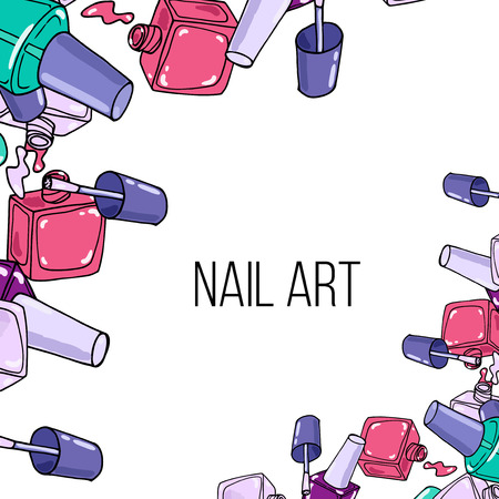 nail lacquer: Opened nail lacquer bottles on white background. Beauty  border and place for your text