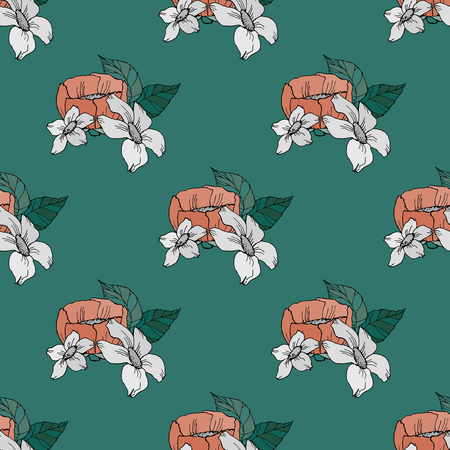 soulful: Seamless floral pattern with flowers on dark green background. Vector illustration. Illustration