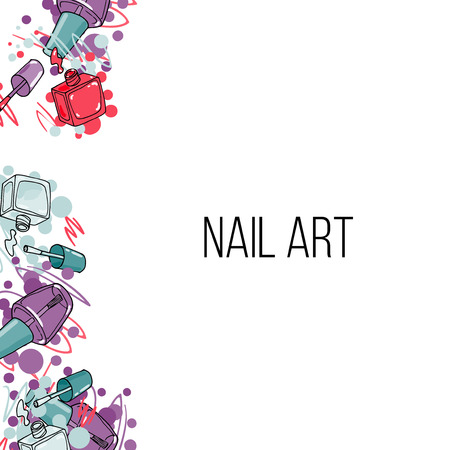 nail lacquer: Vector nail lacquer bottles. Beauty vertical border and place for your text