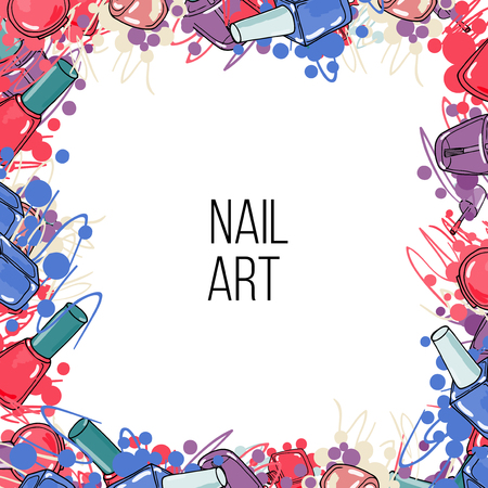 Vector nail lacquer bottles. Hand drawn colorfull border and place for your text