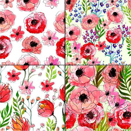 Naadloze bloemmotief ingesteld. Vier Vector aquarel hand getekende illustraties.