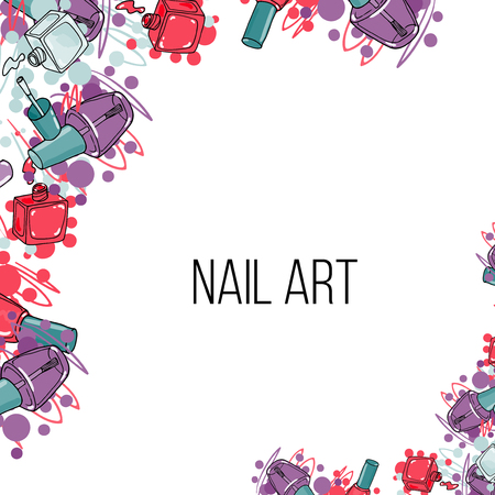 Vector nail lacquer bottles. Beauty border and place for your text. Nail art Illustration