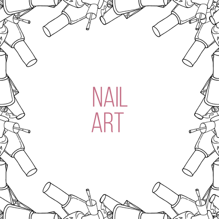 nail lacquer: Vector nail lacquer bottles. Black and white outline border and place for your text