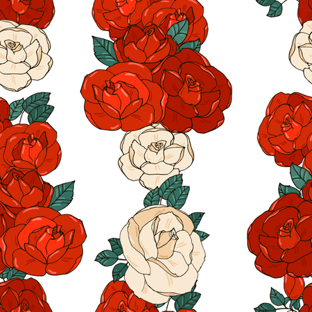 vertical garden: Hand drawn seamless pattern with vertical rows of red and white garden roses on white background.