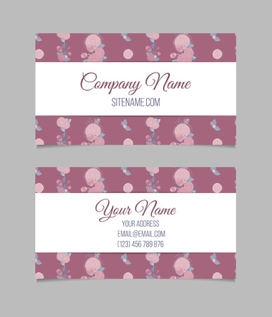 company background: Double-sided floral vintage business card with hand drawn pink flowers.