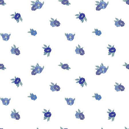patrones de flores: Patrón de vectores sin fisuras con flores de color azul sobre fondo blanco Vectores