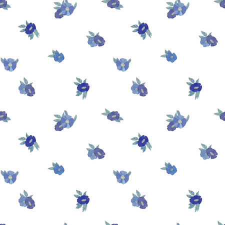 blue and white: Seamless vector pattern with blue flowers on  white background