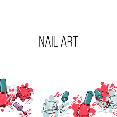 red nail colour: Vector nail lacquer bottlesand drops of nail polish on white background. Beauty background border and place for your text