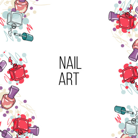 Vector nail lacquer bottles. Beauty background border and place for your text. Nail art