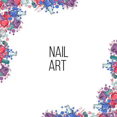 Vector nail lacquer bottles. Beauty background border and place for your text