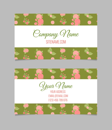 aster: Double-sided floral vintage business card with abstract flowers. Stock Photo