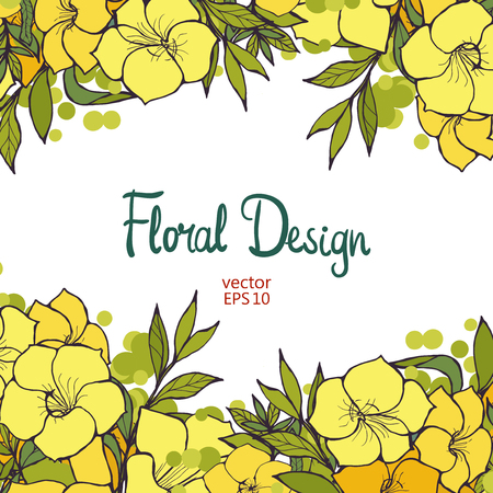flower designs: Beautiful horizontal floral border with yellow exotic flowers and place for text, vector illustration for your design Illustration