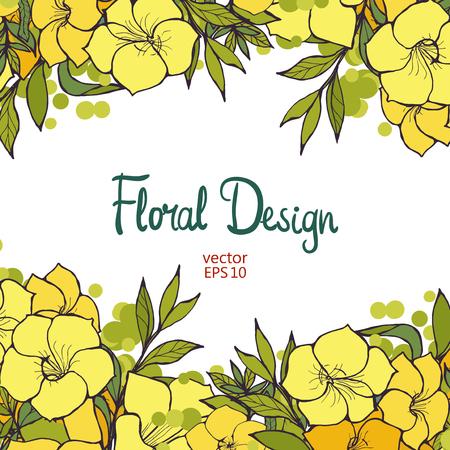 flores exoticas: frontera floral horizontal hermosa con las flores amarillas exóticas y el lugar de texto, ilustración vectorial para su diseño