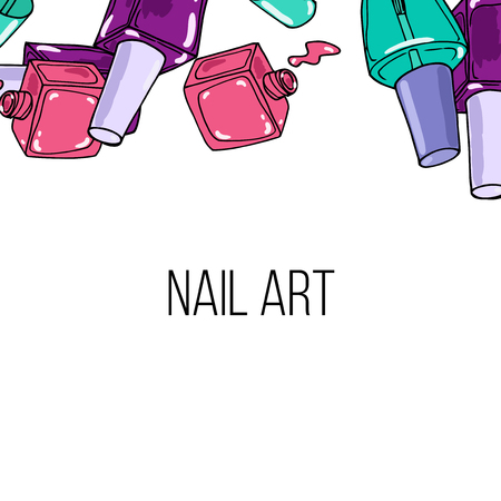 nail lacquer: Vector pink, green, and violet nail lacquer bottles. Beauty background border and place for your text