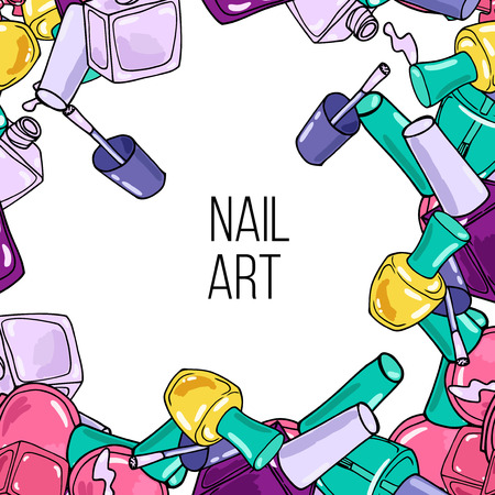 nail lacquer: Vector nail lacquer bottles. Frame with place for your text