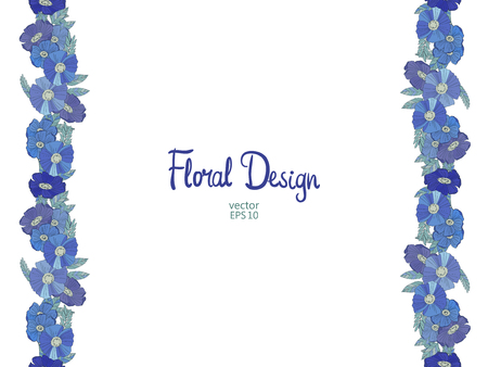bordure florale: Blue seamless floral border made with wildflowers. Floral design