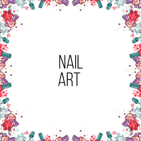 nail lacquer: Vector frame made of nail lacquer bottles and place for your text