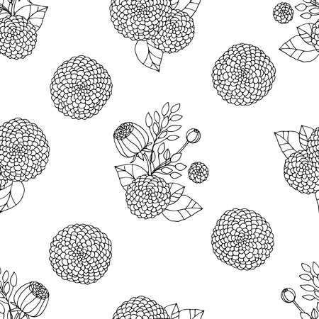 autumn flowers: Black and white seamless pattern with hand drawn autumn flowers Stock Photo