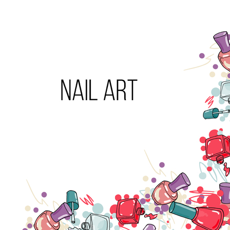 Vector nail lacquer bottles. Hand drawn border and place for your text