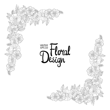 Black and white hand drawn border made with flowers. Floral design
