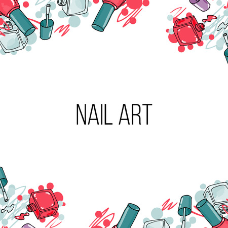 nail lacquer: Vector nail lacquer bottles. Hand drawn horizontal border and place for your text Illustration