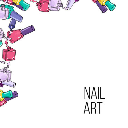 Vector nail lacquer bottles. Beauty hand drawn frame