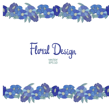 bordure florale: Blue seamless floral border made with wildflowers